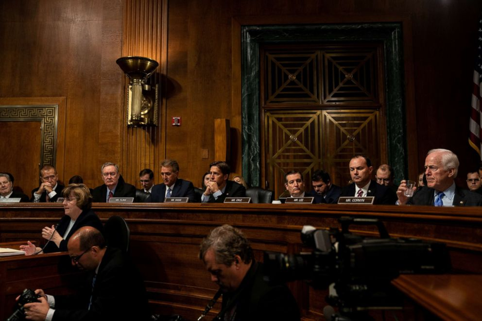 PHOTO: Senate Republicans attend a Senate Judiciary Committee hearing for Christine Blasey Ford to testify about sexual assault allegations against Supreme Court nominee Judge Brett M. Kavanaugh on Capitol Hill in Washington, Sept. 27, 2018.