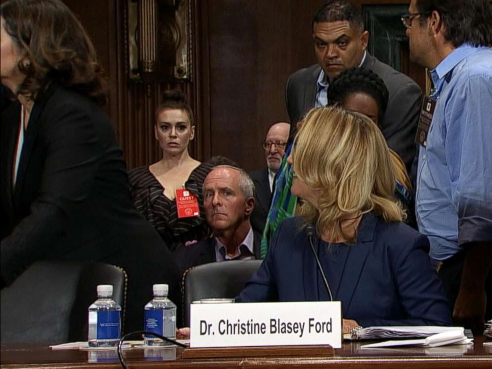 PHOTO: Alyssa Milano, left, watches during Christine Blasey Fords testimony before the U.S. Senate Judiciary Committee on Capitol Hill in Washington, Sept. 27, 2018.