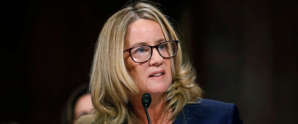 PHOTO: Professor Christine Blasey Ford testifies before a Senate Judiciary Committee confirmation hearing for Kavanaugh on Capitol Hill, Sept. 27, 2018 in Washington.