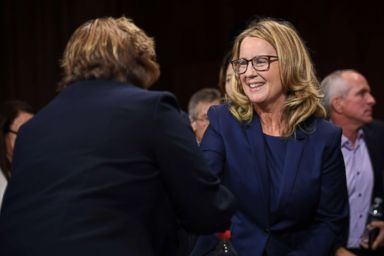 PHOTO: Christine Blasey Ford shakes hands with Rachel Mitchell, a prosecutor from Arizona, after she interrogated her before the Senate Judiciary Committee on Capitol Hill in Washington, Sept. 27, 2018.