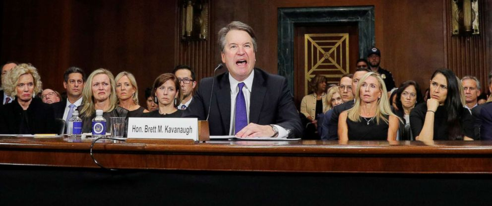 PHOTO: Supreme Court nominee Brett Kavanaugh testifies before a Senate Judiciary Committee confirmation hearing on Capitol Hill in Washington, Sept. 27, 2018.