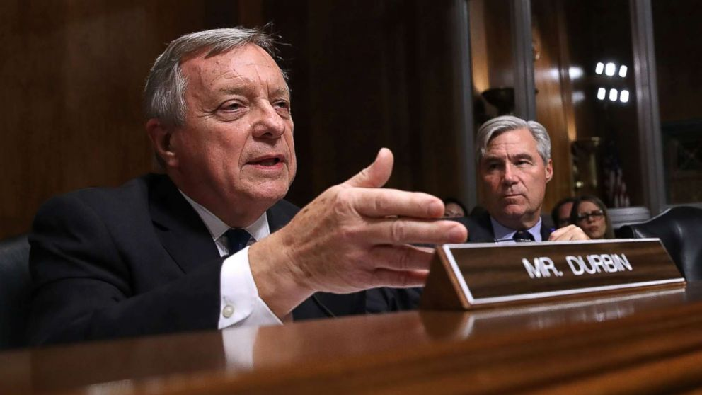 Sen. Richard Durbin questions Judge Brett Kavanaugh during his Supreme Court confirmation hearing on Capitol Hill, Sept. 27, 2018 in Washington.