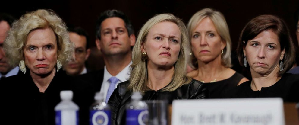 PHOTO: A group that includes family members of Supreme Court nominee Brett Kavanaugh, including his wife Ashley and mother Martha, listen to him testify at his Senate Judiciary Committee confirmation hearing on Capitol Hill in Washington, Sept. 27, 2018.