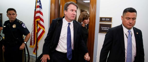 PHOTO: Supreme Court nominee Brett Kavanaugh and his wife Ashley Estes Kavanaugh, hold hands as they leave a holding room after a Senate Judiciary Committee hearing on Capitol Hill in Washington, Sept. 27, 2018.