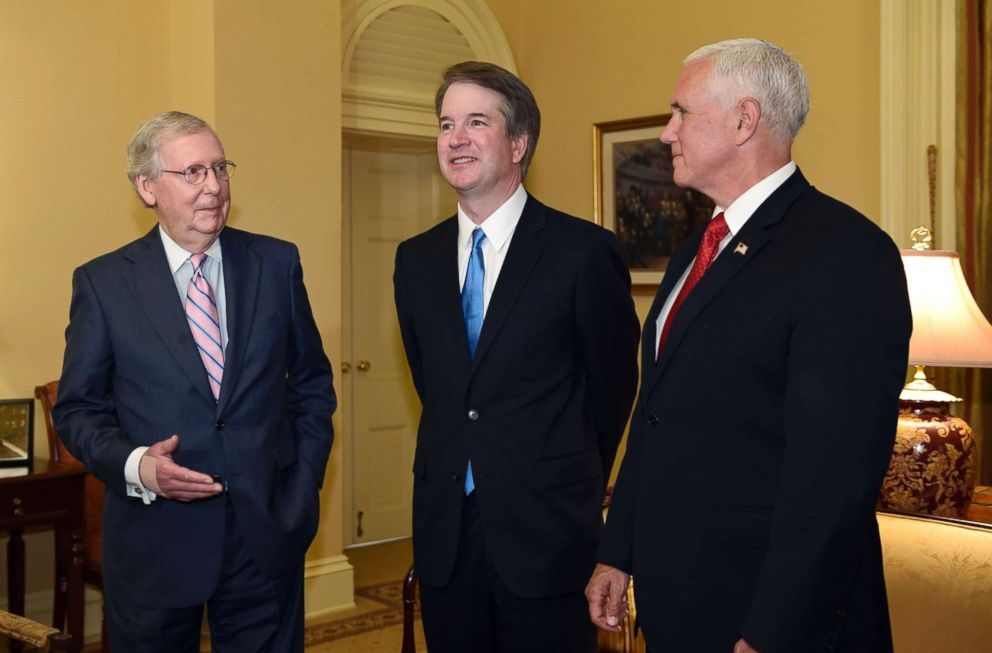 PHOTO: Senate Majority Leader Mitch McConnell, left, speaks about Supreme Court nominee Brett Kavanaugh, center, alongside Vice President Mike Pence on Capitol Hill in Washington, July 10, 2018.