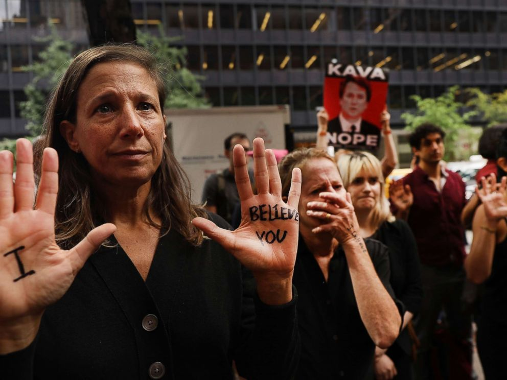 PHOTO: Dozens of protesters against the confirmation of Republican Supreme court nominee Judge Brett Kavanaugh gather outside of Democratic Senator Chuck Schumers office in New York, Sept. 27, 2018.