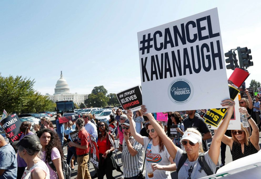 PHOTO: Activists hold a protest march and rally in opposition to U.S. Supreme Court nominee Brett Kavanaugh near the U.S. Capitol, in Washington, Oct. 4, 2018.