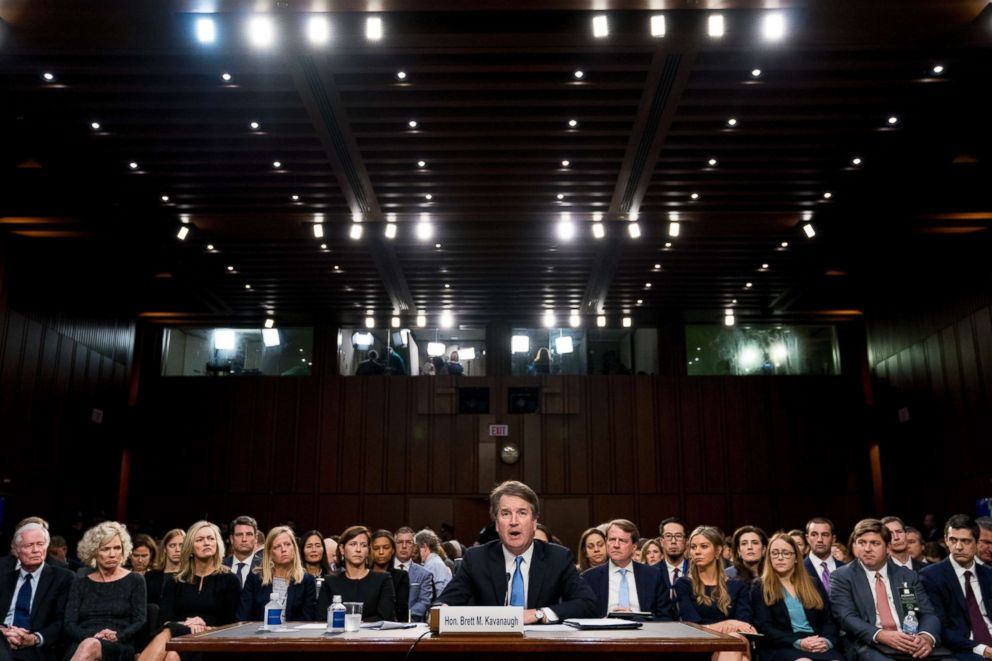 PHOTO: Supreme Court nominee Brett Kavanaugh, a federal appeals court judge, testifies before the Senate Judiciary Committee on Capitol Hill in Washington, Sept. 5, 2018, for the second day of his confirmation hearing.