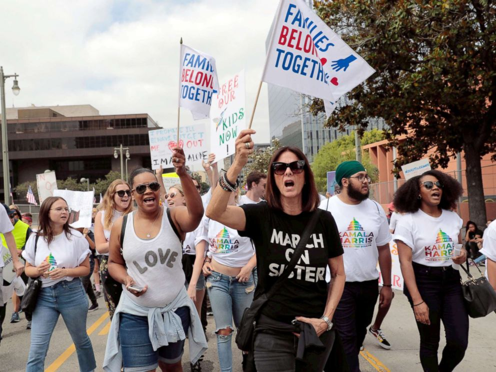 PHOTO: Demonstrators protest during a national day of action called Keep Families Together to protest the Trump administrations Zero Tolerance policy in Los Angeles, June 30, 2018.