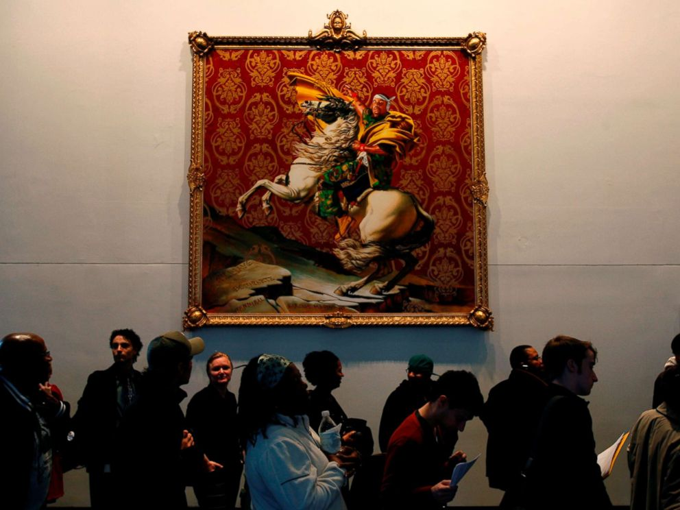 PHOTO: A long line of voters moves slowly past a painting by Kehinde Wiley at a polling site in the Brooklyn Museum of Art in New York, Nov. 4, 2008.