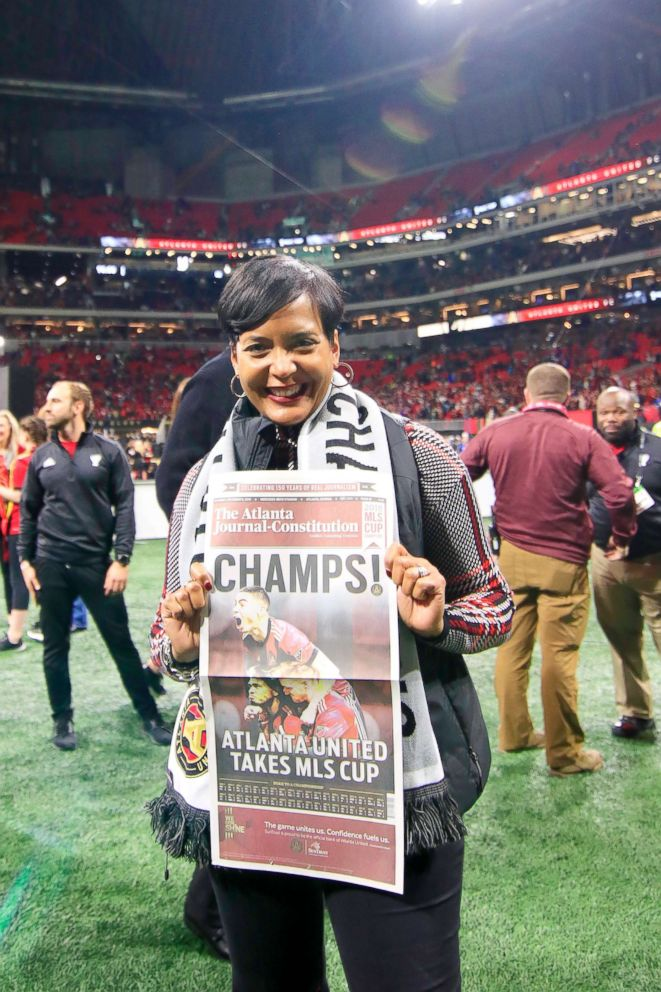 Atlanta Mayor Keisha Lance Bottoms celebrates Atlanta United FC winning the MLS Cup over the Portland Timbers on Dec. 8, 2018, at the Mercedes-Benz Stadium in Atlanta.