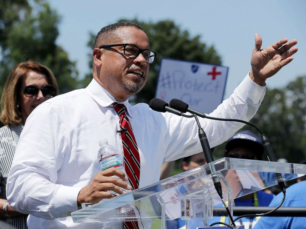 PHOTO: Rep. Keith Ellison addresses a rally against Trump Administration education funding cuts outside the U.S. Capitol July 19, 2017 in Washington.