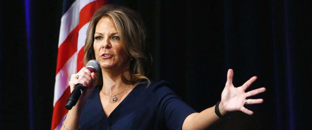 PHOTO: Arizona Senate candidate Kelli Ward speaks at a campaign rally, Oct. 17, 2017, in Scottsdale, Ariz.
