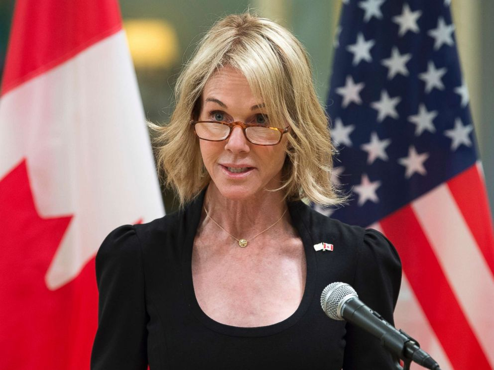 PHOTO: United States Ambassador Kelly Knight Craft delivers a brief statement after presenting her credentials during a ceremony at Rideau Hall, Oct. 23, 2017, in Ottawa.