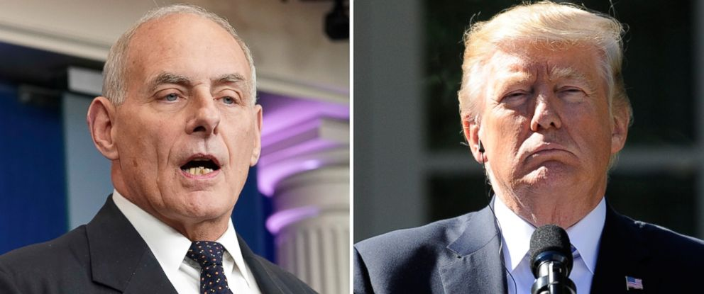 PHOTO: John Kelly speaks to the media at the White House, Oct. 19, 2017. | President Donald Trump holds a joint press conference in the Rose Garden at the White House, Oct. 17, 2017.
