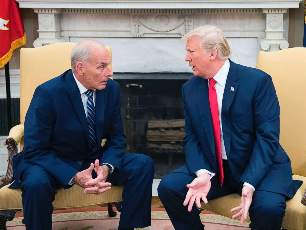 PHOTO: In this file photo, President Donald Trump (R) speaks with newly sworn-in White House Chief of Staff John Kelly at the White House in Washington, DC, July 31, 2017.