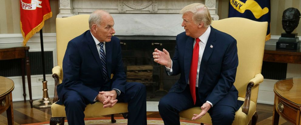 PHOTO: President Donald Trump talks with new White House Chief of Staff John Kelly after he was privately sworn in during a ceremony in the Oval Office with President Donald Trump, July 31, 2017, in Washington.