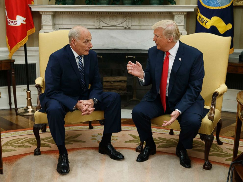 PHOTO: President Donald Trump talks with new White House Chief of Staff John Kelly after he was privately sworn in during a ceremony in the Oval Office with President Donald Trump, July 31, 2017, in Washington, D.C.