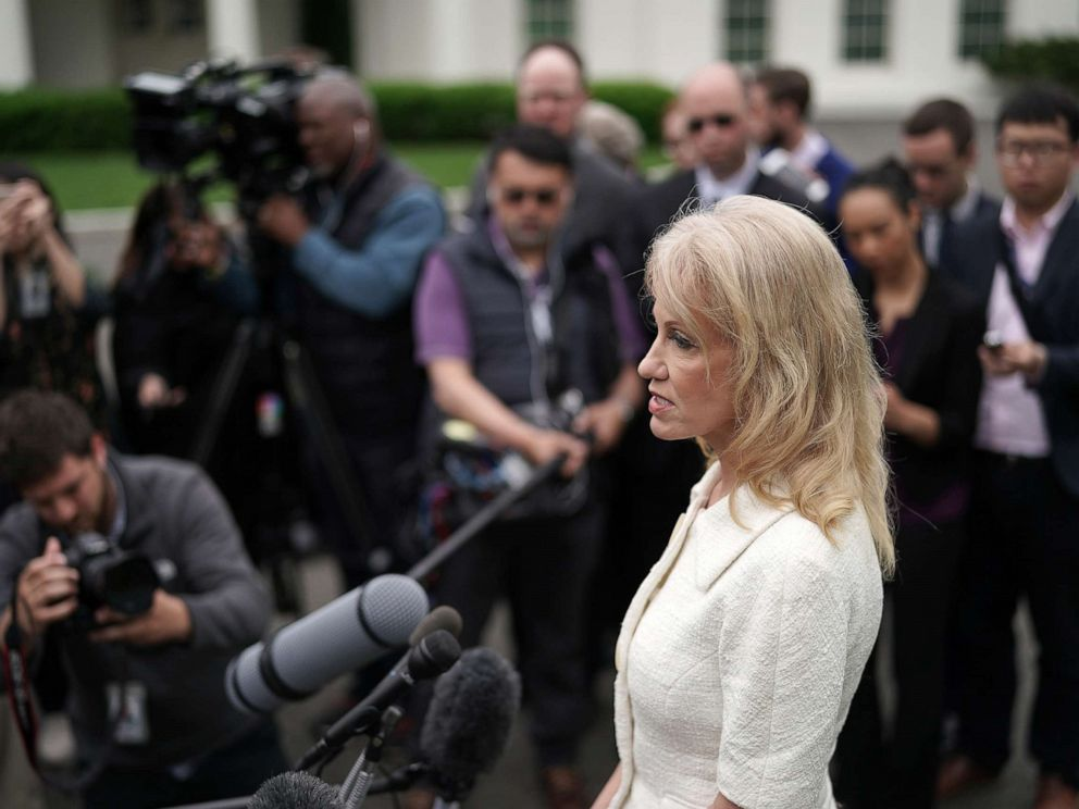 PHOTO: Counselor to President Donald Trump, Kellyanne Conway talks to reporters outside the White House on May 01, 2019, in Washington.