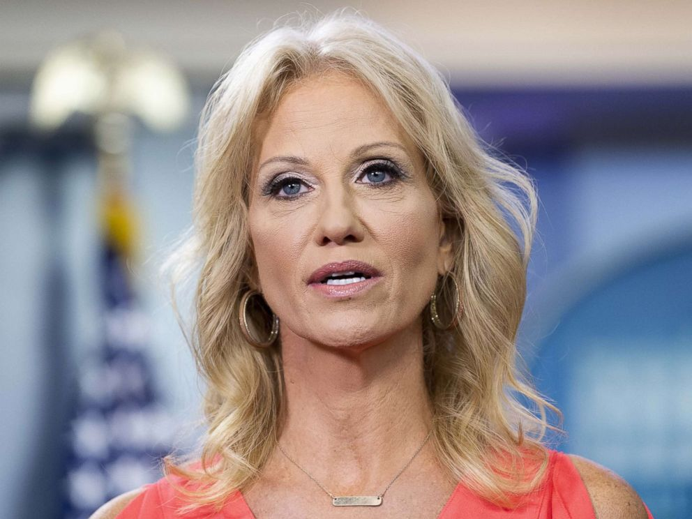 File photo of Kellyanne Conway,counselor to the President, doing a television interview in the White House Press Briefing Room in Washington, DC on August 21, 2018.
