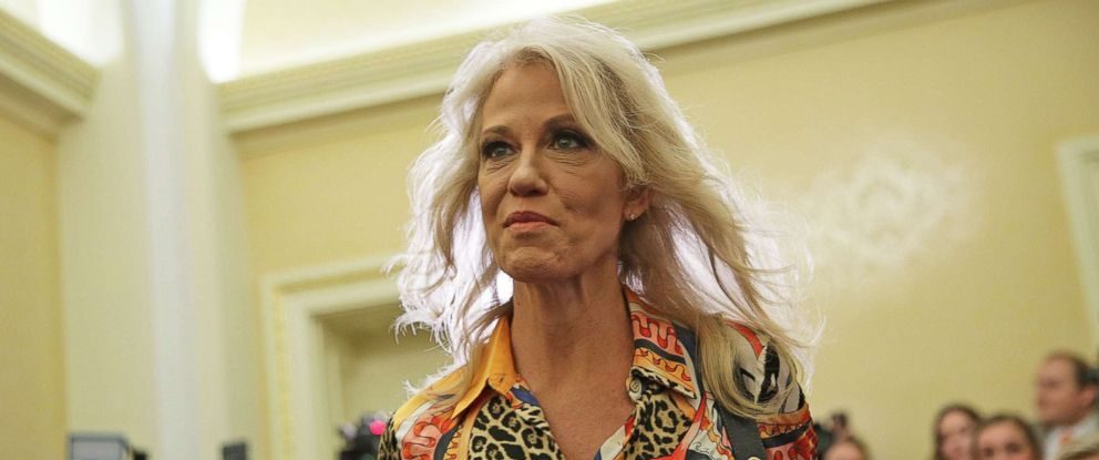 PHOTO: White House Counselor Kellyanne Conway arrives at a news conference on tax reform Nov. 7, 2017 on Capitol Hill in Washington, D.C.