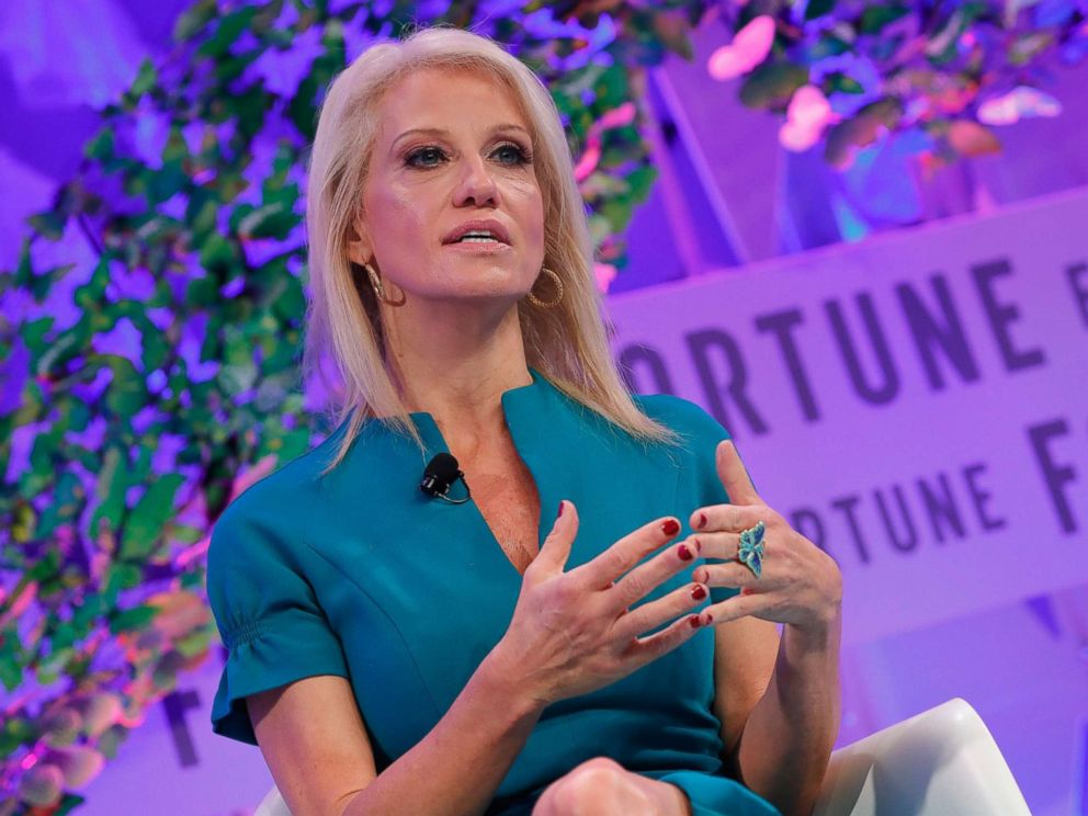 PHOTO: Counselor to the President Kellyanne Conway speaks onstage at the Fortune Most Powerful Women Summit - Day 3, Oct. 11, 2017 in Washington, D.C.