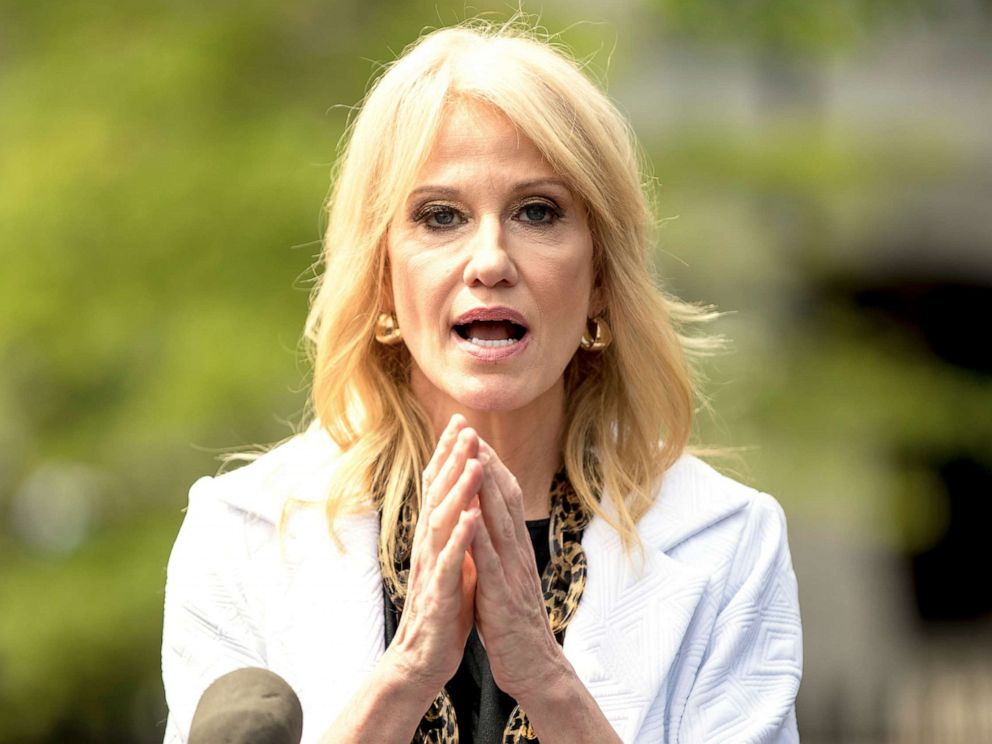 PHOTO: Counselor to the President, Kellyanne Conway speaks to members of the media outside the West Wing on of the White House, Thursday, April 18, 2019, in Washington.