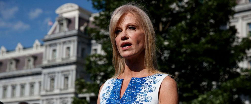 PHOTO: White House counselor Kellyanne Conway talks to reporters outside the White House, June 24, 2019, in Washington, D.C.