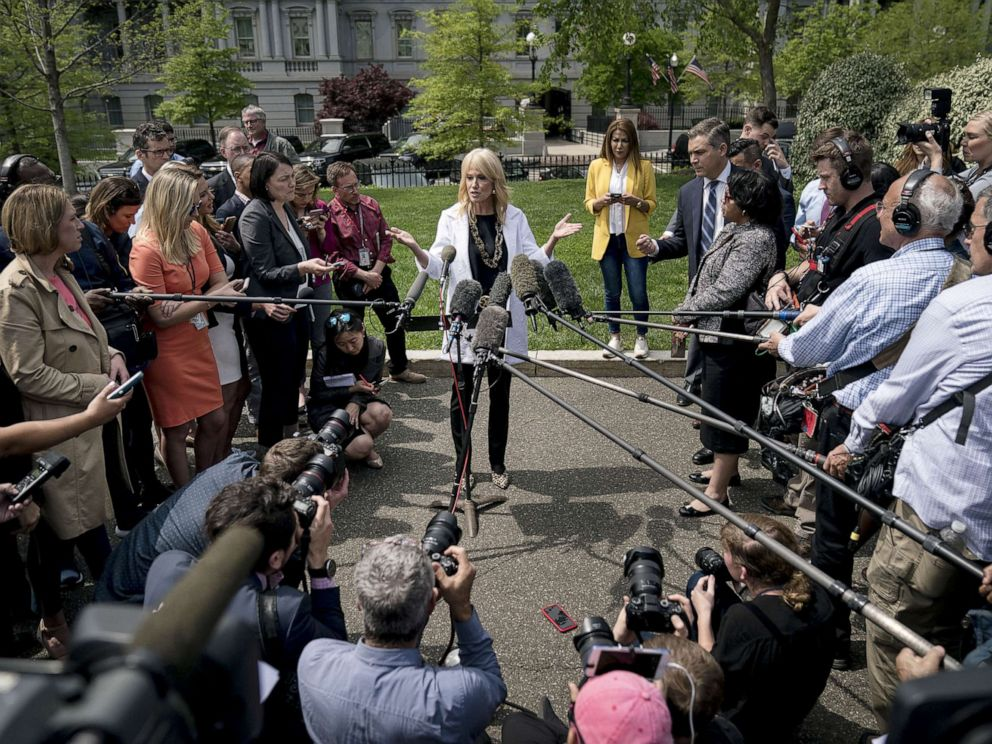 PHOTO: Counselor to the President Kellyanne Conway speaks to reporters outside of the White House, April 18, 2019.