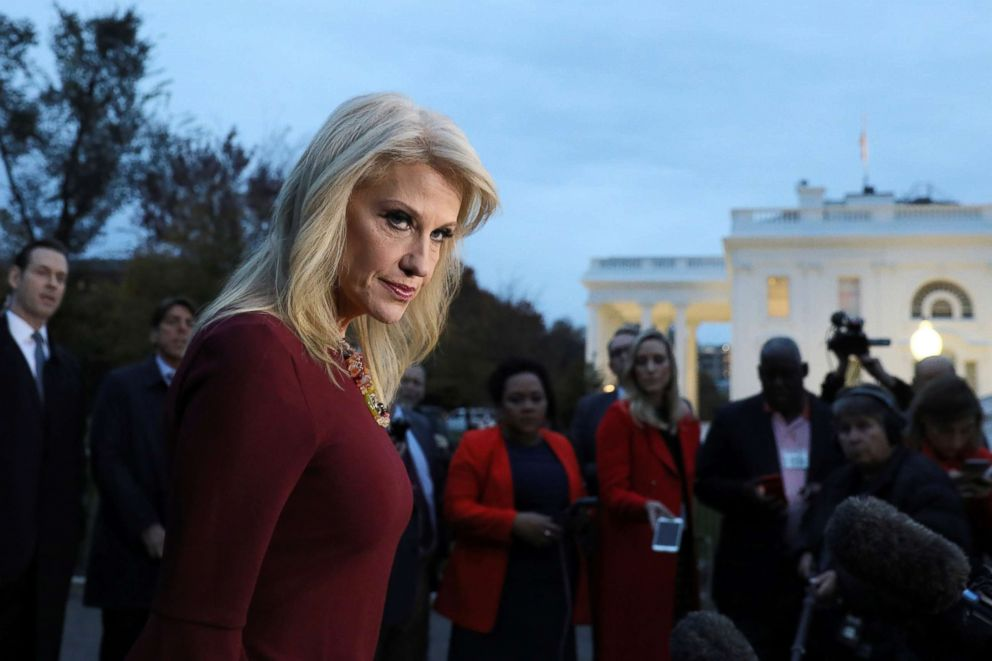 PHOTO: White House counselor Kellyanne Conway speaks with reporters outside the White House in Washington, Nov. 7, 2018.