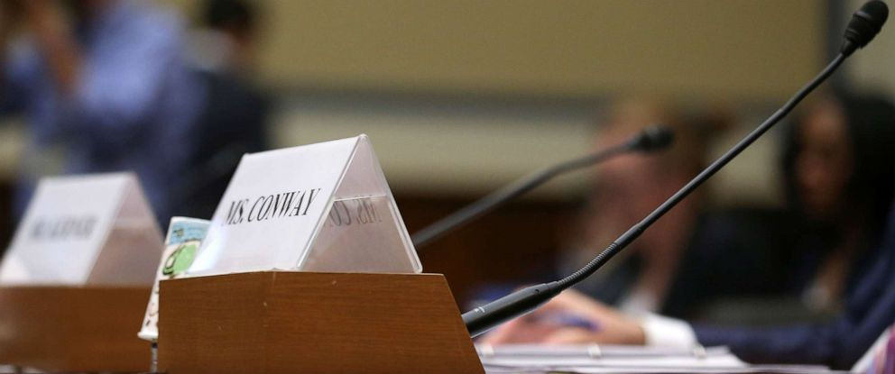PHOTO: The empty seat of White House counselor Kellyanne Conway is seen at a House Oversight and Reform Committee hearing at which Conway failed to appear on Capitol Hill in Washington, D.C., June 26, 2019.