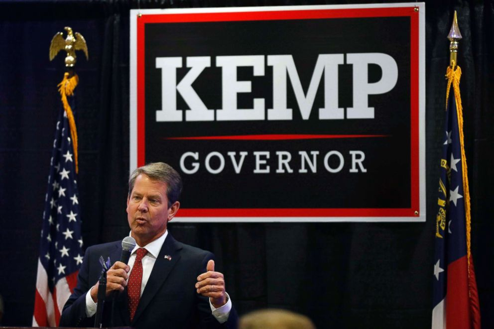 PHOTO: Brian Kemp, the Republican nominee for Georgia governor, speaks at a rally at the Classic Center in downtown Athens, Ga., Oct. 9, 2018.
