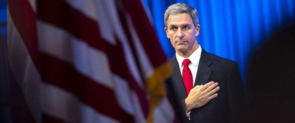 PHOTO: Acting Director of the U.S. Citizenship and Immigration Services (USCIS), Ken Cuccinelli leaves the lectern after speaking during a naturalization ceremony on July 2, 2019, in New York City.