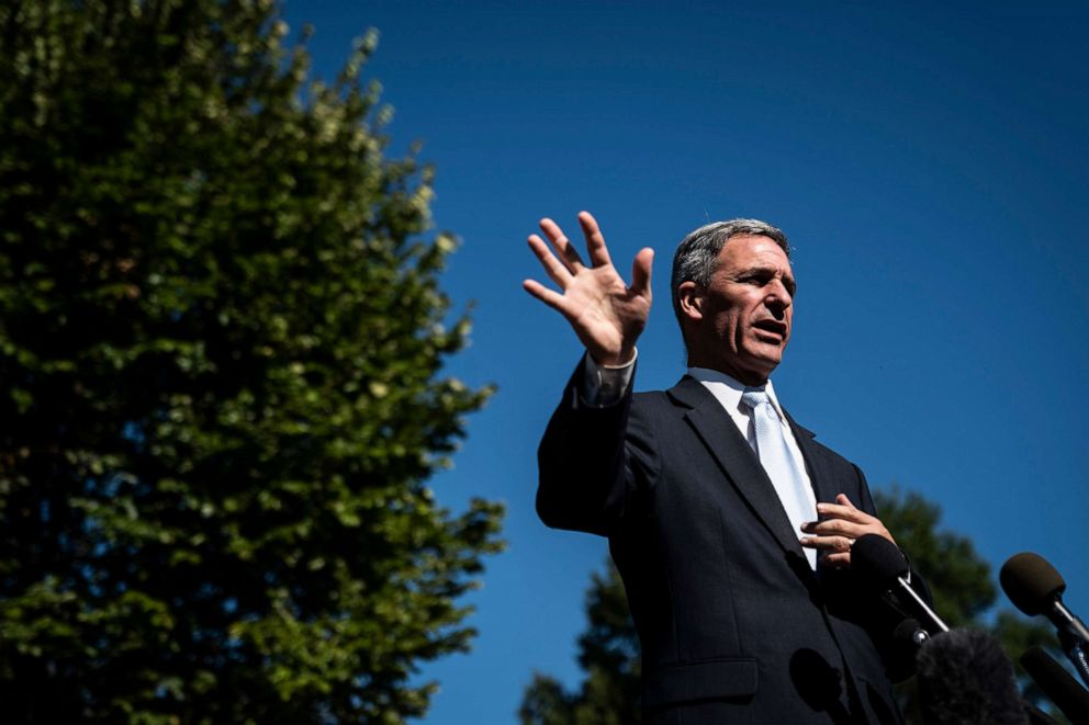 PHOTO: Ken Cuccinelli acting director of USCIS United States Citizenship and Immigration Services speaks to media outside the West Wing at the White House on., Sept. 27, 2019 in Washington, D.C.