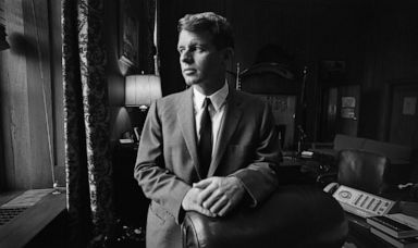 PHOTO: United States Attorney General Robert Kennedy poses for a portrait in his Justice Department office circa 1964 in Washington.