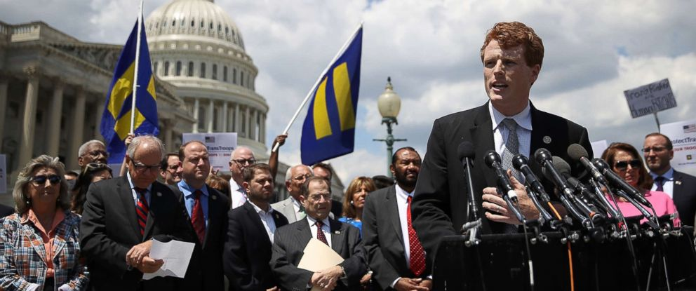 PHOTO: Rep. Joe Kennedy (D-MA) speaks during a press conference condemning the new ban on transgendered service members, July 26, 2017, in Washington, D.C.