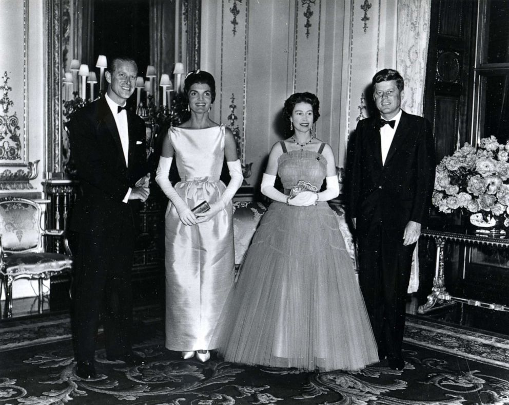 PHOTO: President John F. Kennedy, right, and his wife, First Lady Jacqueline Kennedy, 2-L, pose with Queen Elizabeth, 2-R, and her husband, Prince Philip, Duke of Edinburgh, at Buckingham Palace in London, June 15, 1961.