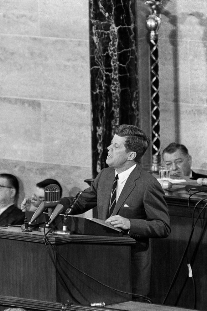 PHOTO: President John Kennedy gives a speech in front of the Congress on May 26, 1961, in Washington to raise funds in order to send the first man to the Moon before 1970.