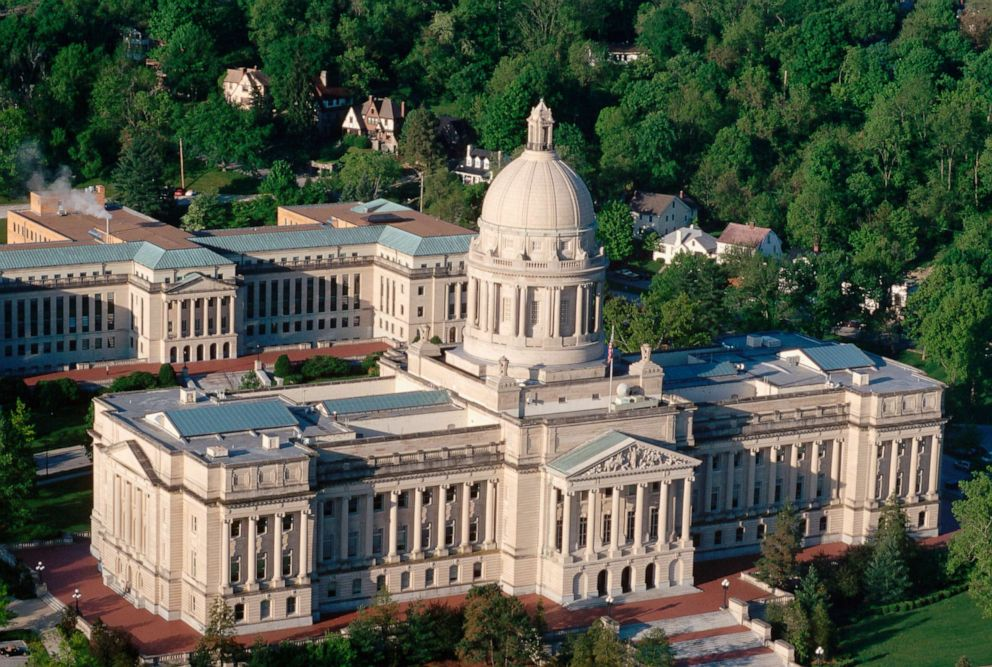 PHOTO: An aerial view of the capitol building in Frankfort, Ky.