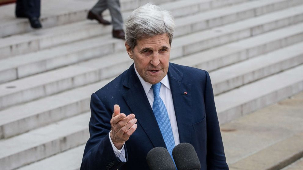 "John Kerry, gives an interview after the ""Tech for Good"" Summit at Elysee Palace, May 23, 2018, in Paris."