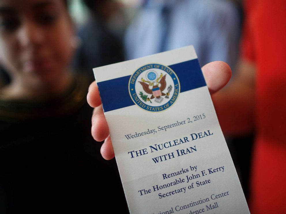 PHOTO: An attendee holds a ticket from the speech U.S. Secretary of State John Kerry delivered on the nuclear agreement with Iran at the National Constitution Center, Sept. 2, 2015, in Philadelphia.