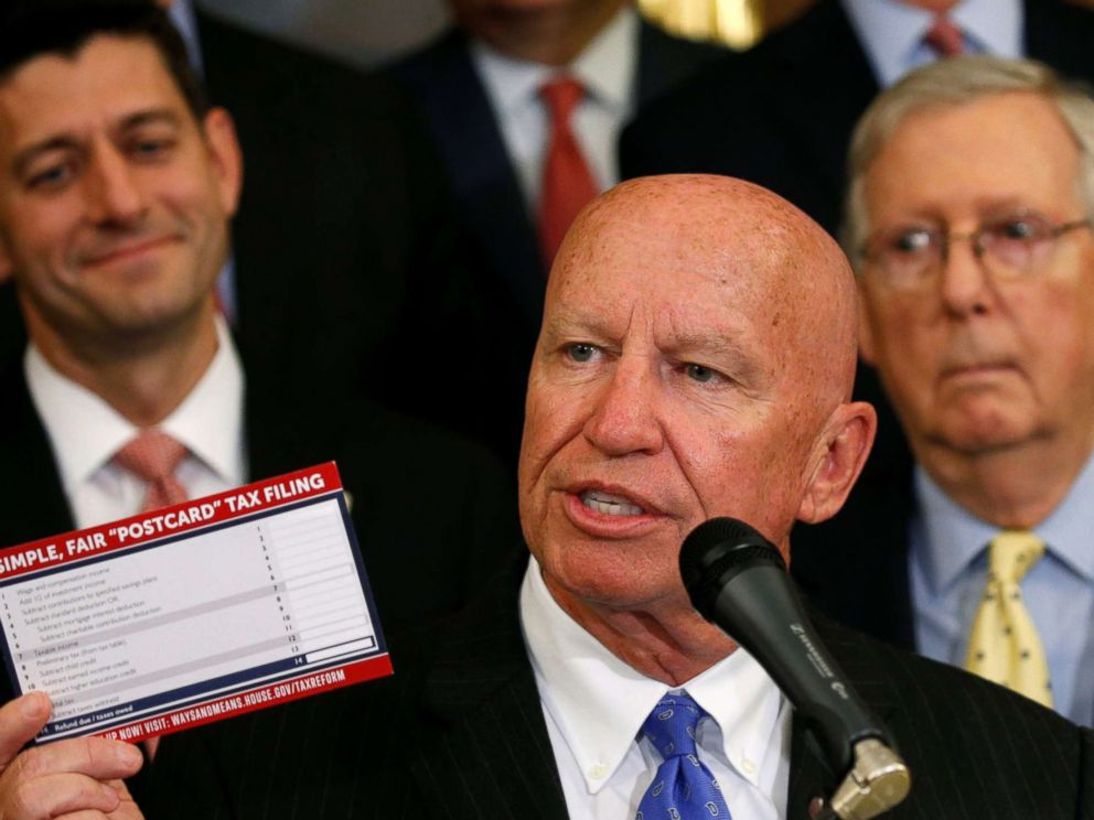 PHOTO: House Ways and Means Committee Chairman Kevin Brady holds up a tax post card at a meeting where Republicans talk about their tax plan in the U.S. Capitol in Washington, Sept. 27, 2017.
