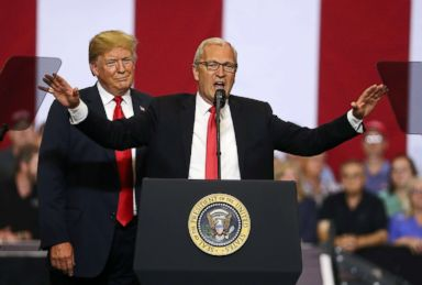 PHOTO: President Donald Trump looks on as Republican candidate for senate, Rep. Kevin Cramer, speaks to supporters during a campaign rally at Scheels Arena, June 27, 2018, in Fargo, N.D.