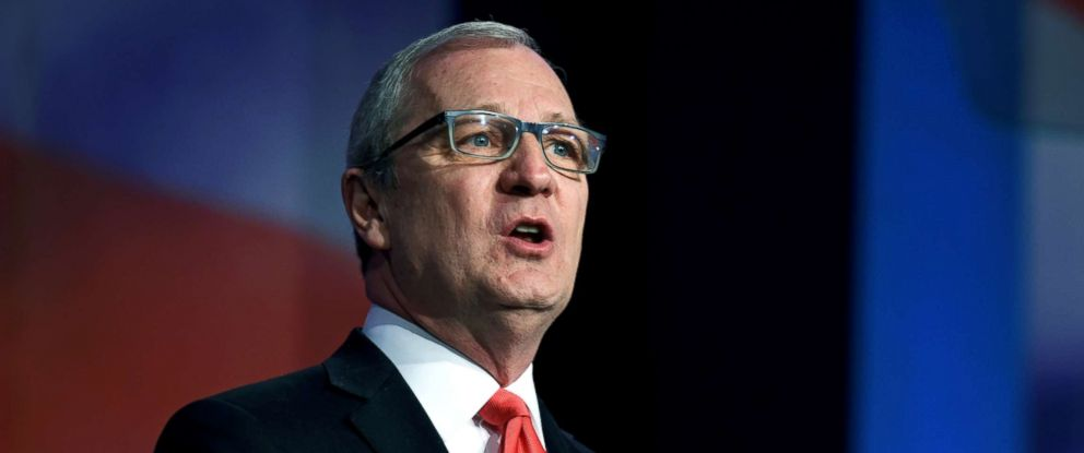 PHOTO: Representative Kevin Cramer speaks at the 2018 North Dakota Republican Party Convention in Grand Forks, N.D., April 7, 2018.