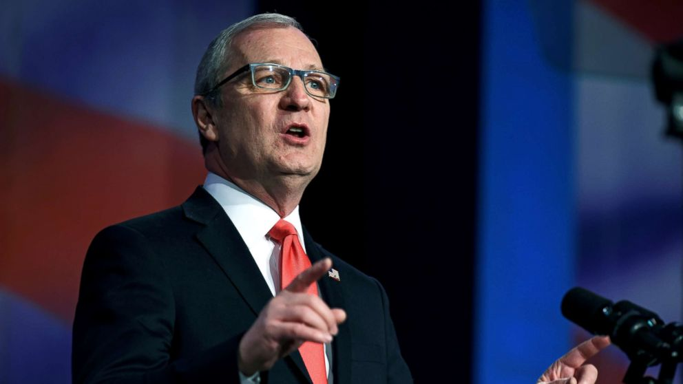 Representative Kevin Cramer speaks at the 2018 North Dakota Republican Party Convention in Grand Forks, N.D., April 7, 2018.