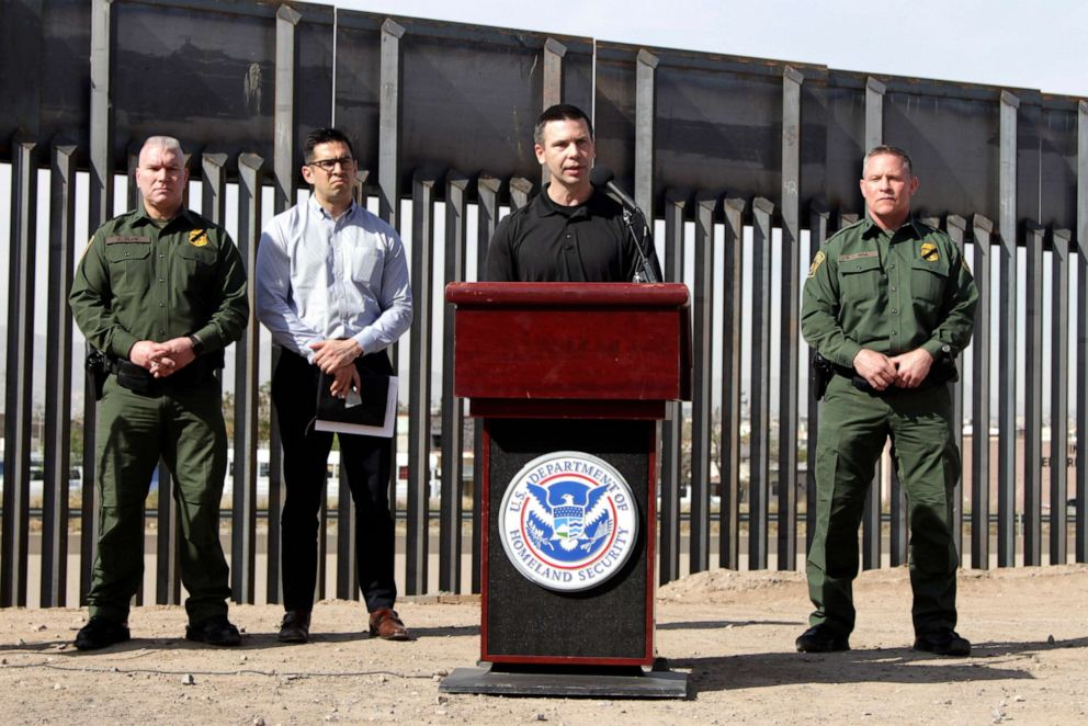PHOTO: Customs and Border Protection Commissioner Kevin McAleenan, center, announced that the Trump administration will temporarily reassign several hundred border inspectors during a news conference at the border in El Paso, Texas, March 27, 2019.