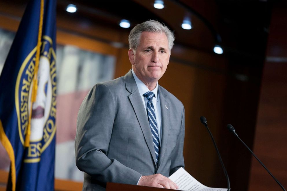 PHOTO: House Minority Leader Kevin McCarthy speaks to reporters at a news conference on Capitol Hill in Washington, Thursday, April 4, 2019.