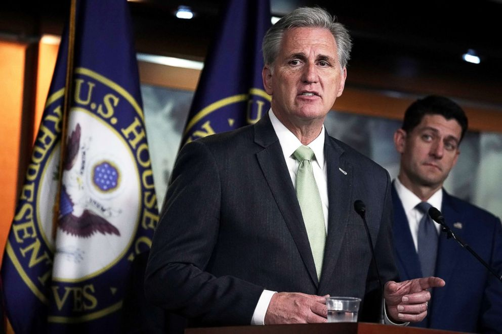 PHOTO: U.S. House Majority Leader Rep. Kevin McCarthy (L) speaks as Speaker of the House Rep. Paul Ryan listens during a news conference on June 20, 2018, on Capitol Hill in Washington, D.C.