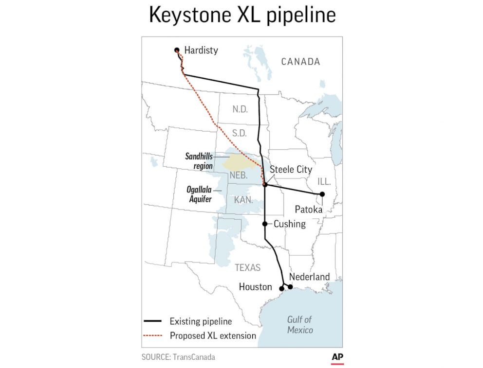 An AP map shows the proposed Keystone XL pipeline extension route.