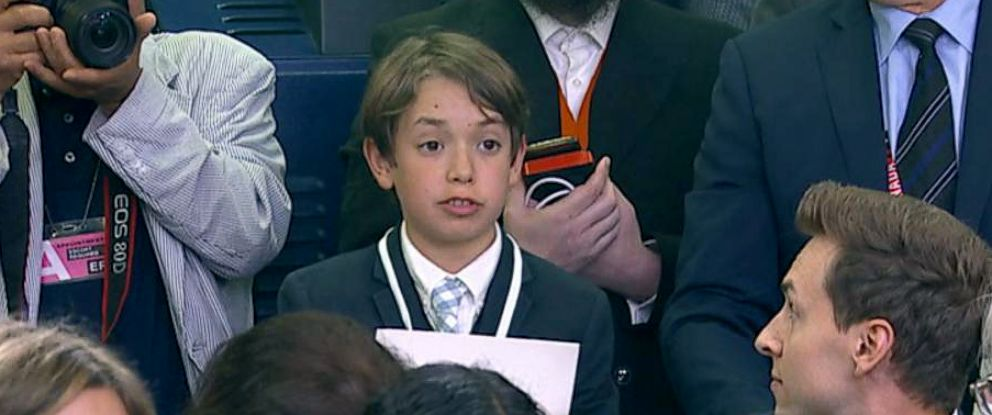 PHOTO: A student reporter was allowed to ask a question at the White House press briefing on Wednesday, May 30, 2018.